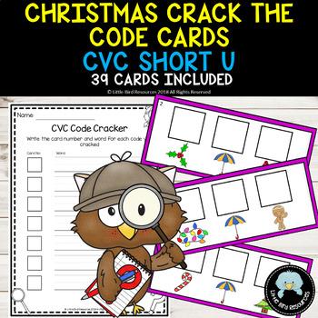 Christmas Themed Crack the Code Cards - CVC Short U