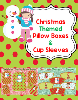 Christmas Themed Pillow Boxes and Cup Sleeves