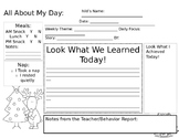 Christmas Themed Daily Child Care Sheet