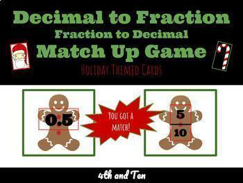 Christmas Themed | Decimals & Fractions Match Up | Common Core Math | 4th Grade|