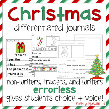 Christmas Themed Differentiated Journal Writing for Special Education
