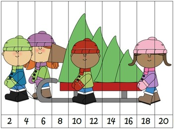 Christmas Themed Differentiated Skip Counting Puzzles Bundle