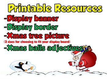 Christmas Themed Display Board - Adjectives