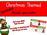 Christmas Themed Editable Thank You Notes Freebie