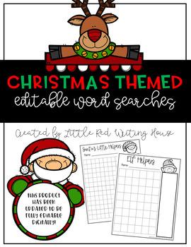 Christmas Themed Editable Word Search