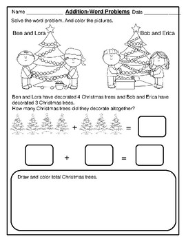 Christmas Themed First Grade Math Word Problems with Pictures :