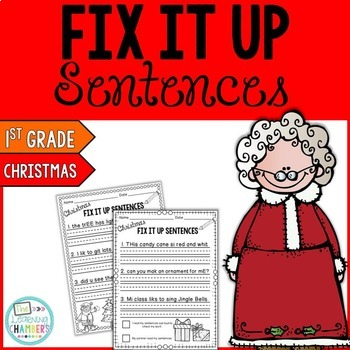Christmas Editing Sentences: First Grade, Capitalization, Punctuation, Spelling