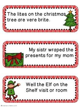 Christmas Editing Sentences: Second Grade, Capitalization, Punctuation, Spelling