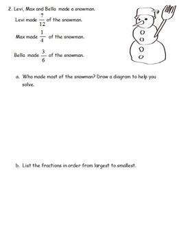 5th Grade Christmas Themed Fraction Word Problems. Based on Eureka Math Mod 3.