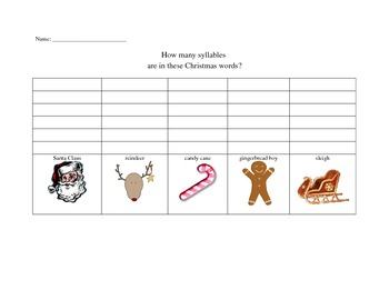 Christmas Themed Graphing Syllables