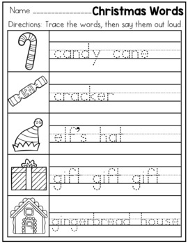 Christmas Themed Handwriting Practice Worksheets For Kindergarten