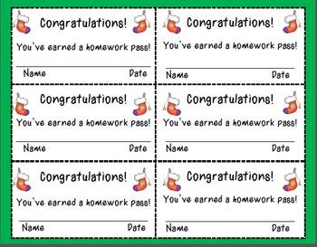 Christmas Themed Homework Passes