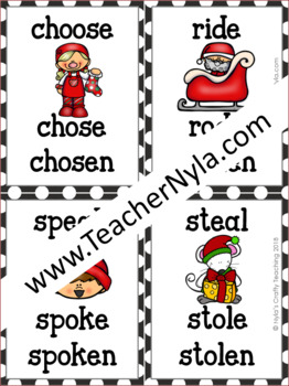 Christmas Themed Irregular Verb Flash Cards