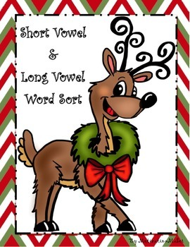 """Christmas Themed Long Vowel and Short Vowel Word Sort with Silent """"e"""""""