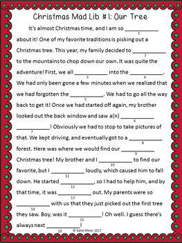 Christmas Themed Mad Libs - Nouns, Verbs, and Adjectives