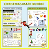 Christmas-Themed Math Numbers Counting Shapes One more/less Match-up BUNDLE