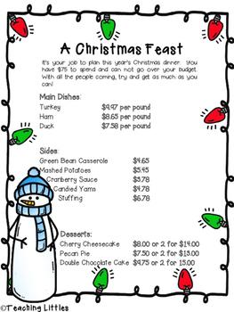 Christmas Themed Math Performance Tasks