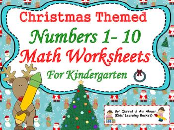 Christmas Themed Math Worksheets for Kindergarten: Number 1-10