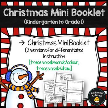 Christmas Themed Mini Booklet {trace/colour; trace/draw} (Kindergarten-Grade 1)
