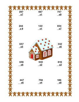 Christmas Themed Multiplication Math Review Worksheets Grades 4-5