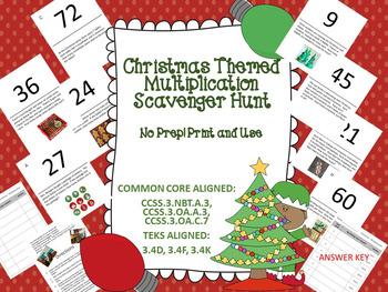 Christmas Themed Multiplication Scavenger Hunt - Multi Step Problems