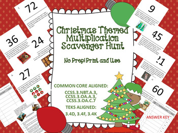 Christmas Themed Multiplication Scavenger Hunt - Multi Ste