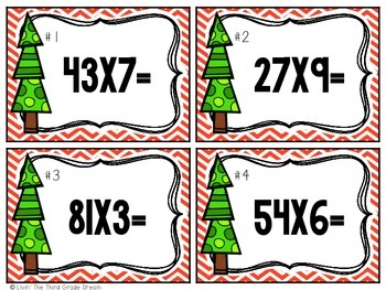 Christmas Themed Multiplication Task Cards Freebie