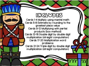 Christmas Themed Multiplication Task Cards