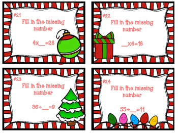 Christmas Themed Multiplication and Division Task Cards
