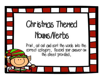 Christmas Themed Noun/Verb Sort