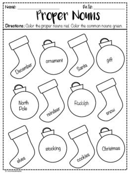 Christmas Themed Nouns