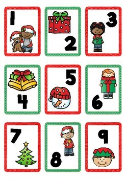 Christmas Themed Number Cards 1-100