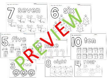Christmas Themed Number Coloring Worksheets: