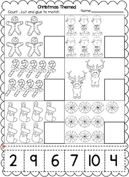 Christmas Themed Numbers Cut and Paste Worksheets (1-20):