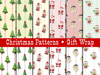 Christmas Themed Papers • Santas-Snowmen-Trees • 300 DPI 12 x 12 In.