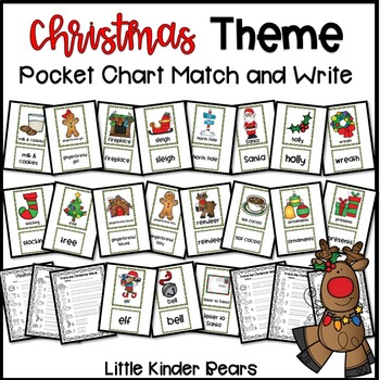 Christmas Themed Pocket Chart Pictures & Word Cards