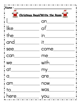Christmas Themed Read and Write the Room- Sight Word Edition