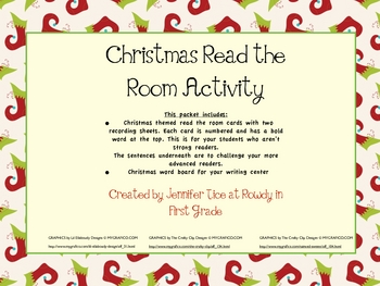 Christmas Themed Read the Room Activity