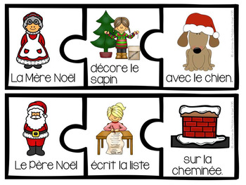 Christmas Themed Sentence Builder Cards in French (Noël)