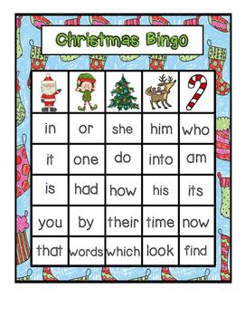 Christmas Themed Sight Word Bingo