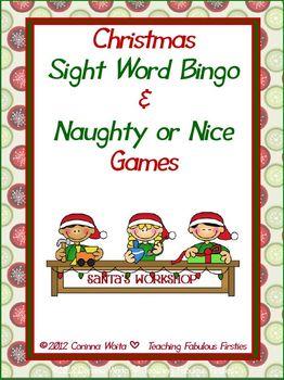 Christmas Themed Sight Word Bingo and Naughty & Nice Game
