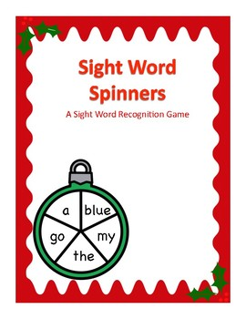 Christmas Themed Sight Word Spinner Center: Kindergarten Dolch Words