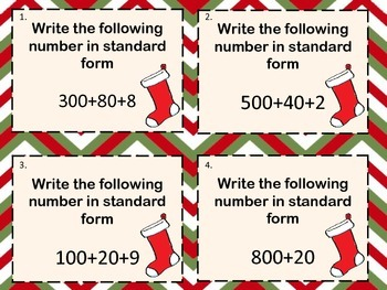 Christmas Themed Standard and Expanded Notation Task Cards with Recording Sheet