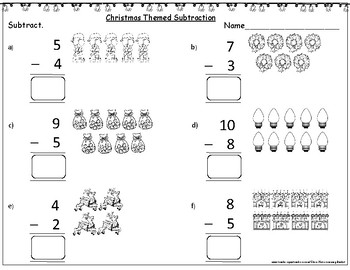 Christmas Themed Subtraction with Pictures (within 10):