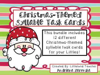 Christmas-Themed Syllable Task Cards