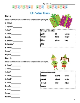 Christmas Themed Synonyms & Antonyms File Folder Activity & Worksheets