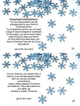 Christmas Task Cards - activities, creativity, imagination, collaboration
