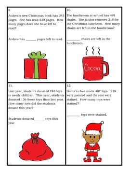Christmas Themed Task Cards Subtraction with Regrouping Word Problems