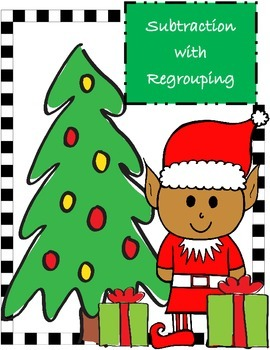 Christmas Themed Task Cards Subtraction with Regrouping Wo
