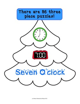 Christmas Themed Time Puzzles Practicing Analog, Digital, and Written Time